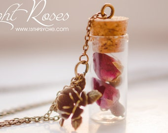Dried Rose bottle Necklace pressed flower jewelry, terrarium jewelry, dried Flower necklace roses vial pendant, Inspirational Gift for women
