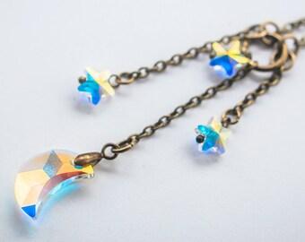 moon jewelry,Swarovski moon jewelry,star jewelry,crescent moon necklace,Swarovski star necklace,celestial jewelry inspirational women gift