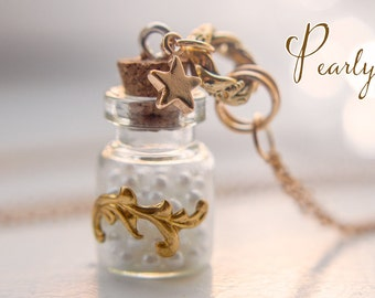 Pearls bottle necklace, glass bottle pendant vial necklace romantic jewelry pearls pendant bottle charm pendant inspirational gift for women
