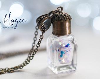 Glitter Stars perfume Bottle necklace. Cute Necklace, miniature bottle charm necklace, stars necklace, gifts for women, bottle pendant