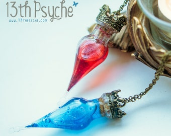 Health potion bottle necklace, Mana potion vial necklace magic potion pendant, gamer necklace  witch pendant Inspirational Gift for women