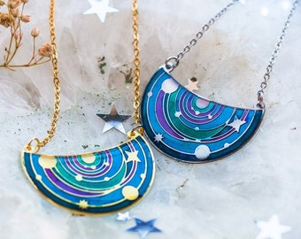 Sphere Moon and Stars celestial Necklace; Celestial jewelry accessories