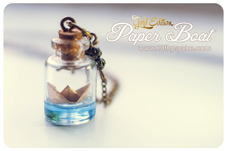 a6543da53095 Golden Paper Boat bottle Necklace, wanderlust jewelry, Glass Bottle  Pendant. Ocean necklace, origami boat necklace, cute gift for her