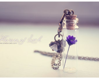 Tiny flower Bottle necklace. Glass bottle pendant. Cute Necklace. dried flower necklace, terrarium necklace Inspirational gift for women