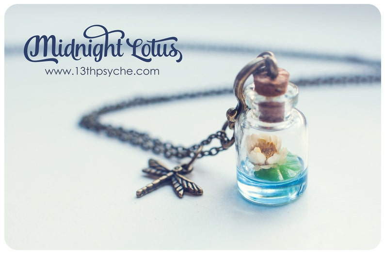 Lotus Bottle Necklace Real Flower Jewelrygift For Her Dried Etsy