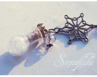 Snowflake Bottle necklace. Winter pendant, christmas necklace cute pendant Snow bottle, snowflake necklace gift for women, gift for her