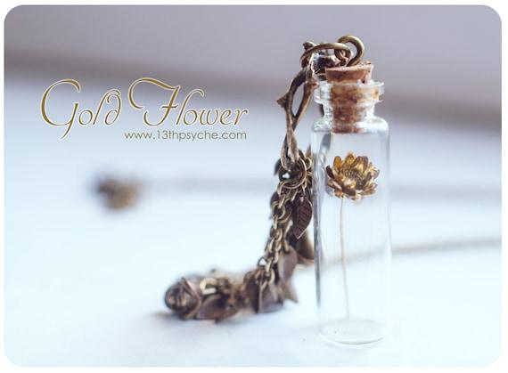 Collar rom/ántico collar de terrario enminiatura collar de flores secas collar de vial Colgante de botella de lavanda seca collar de lavanda