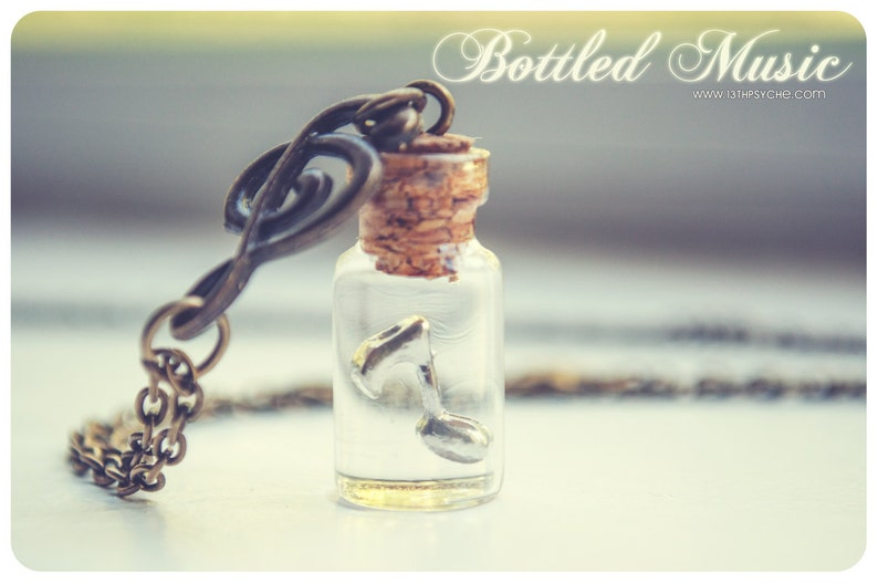 Music necklace,Music Bottle necklace,music note jewelry,glass Vial necklace,miniature bottle,music jewelry,gift for her,potion vial necklace