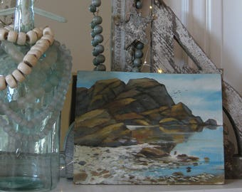 Vintage seascape oil painting, modern beach house decor, coastal living, beachy, nautical, rocky shore, blues and browns