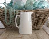 Vintage English Ironstone pitcher, English ironstone, white, farmhouse decor, Shabby Chic decor, farmhouse kitchen, flower arranging