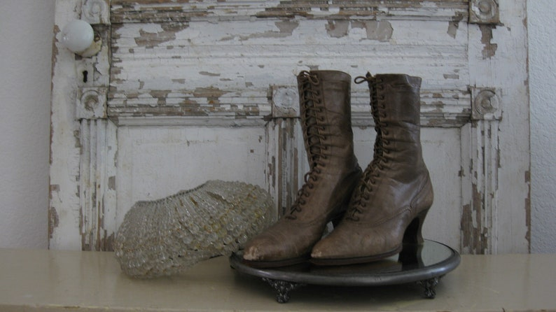 5d13d164d2b Antique Victorian shoes, brown leather, lace up boots, heel, Downton Abbey,  Shabby Chic, romantic, photo prop, wedding boots