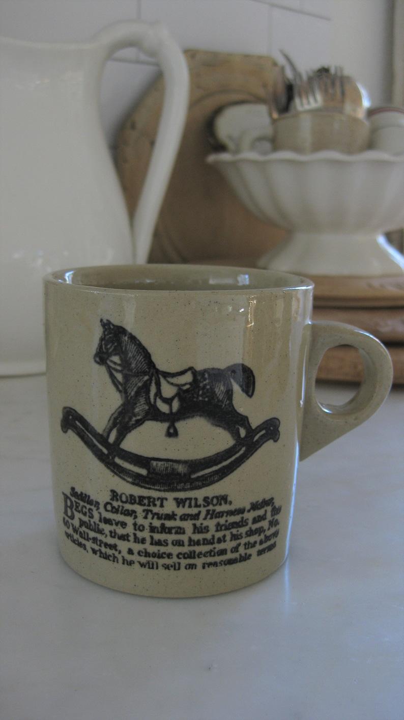 kids mug vintage kitchen rocking horse vintage stoneware mug Made in England holiday decor English advertising mug farmhouse decor