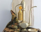 Tall 18 Inch Middle Eastern Etched Brass Coffee Pot