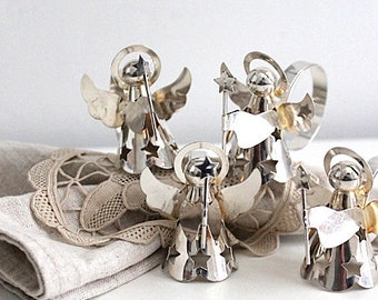 1980s hand made ceramic project set of four Vintage white angel napkin rings