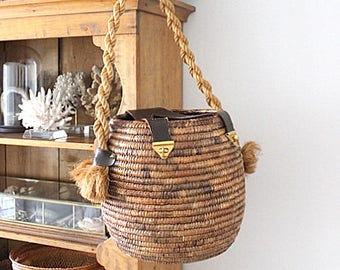 Vintage Woven Hanging Basket With Leather Straps