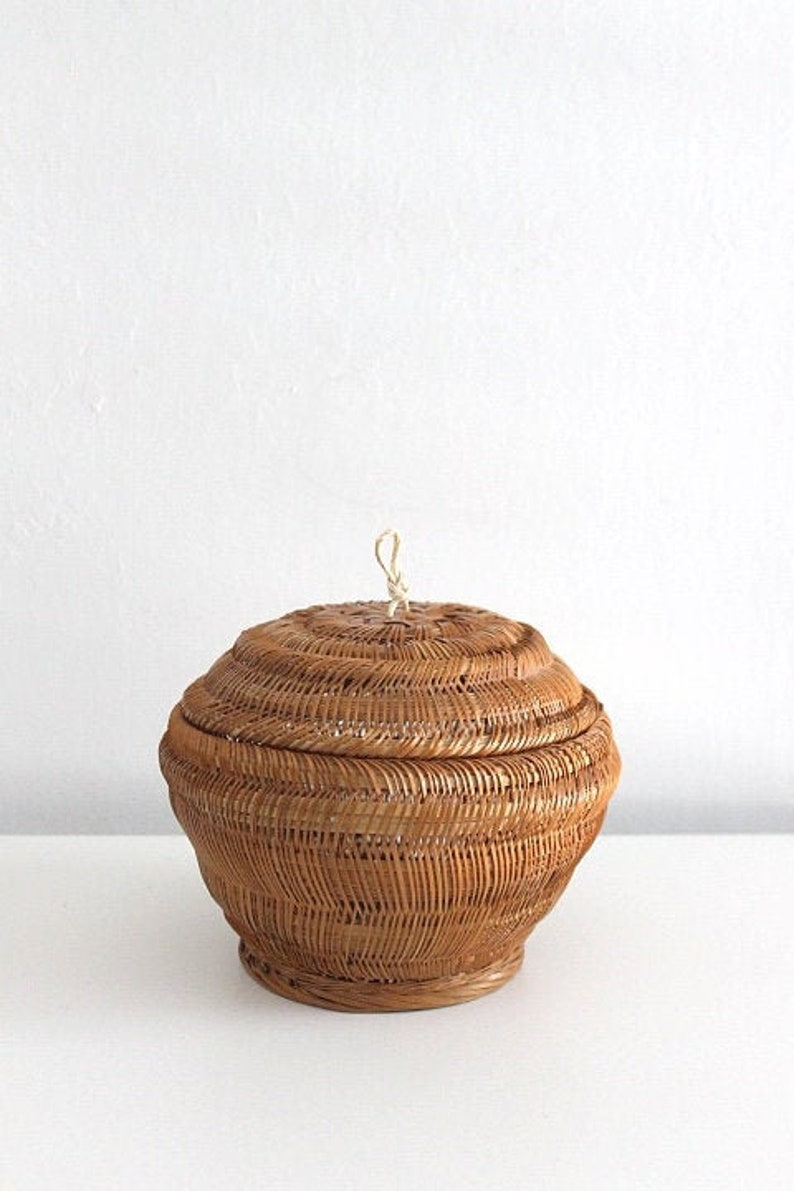 Small Delicate Woven Lidded Storage Basket