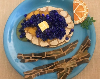 Blueberry Pancake Mosaic Art with Stained Glass and Beads