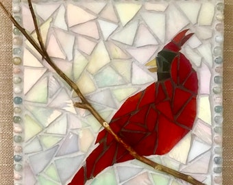 Christmas Cardinal Mosaic in Stained Glass