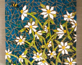 SOLD! Daisies and Bumble Bees Mosaic Let me create one for you.