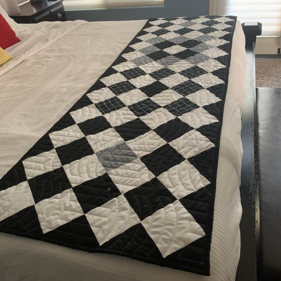 Grey and Black Bed Runner