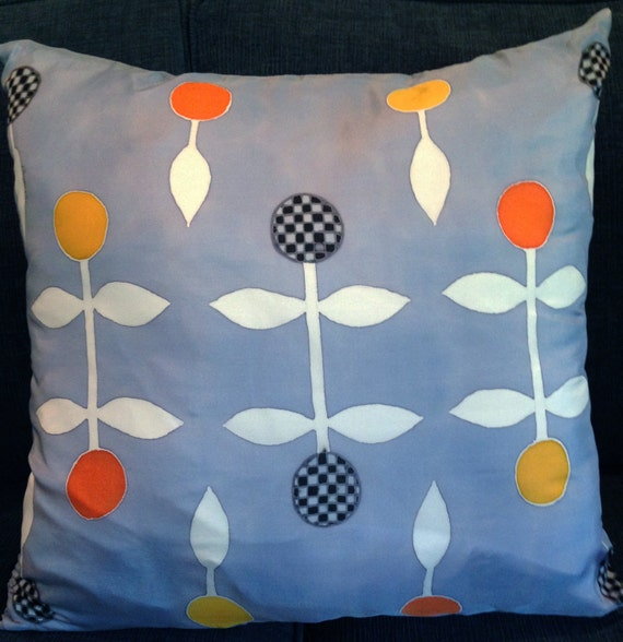 LIGHTLY CHECKERED -Hand Painted Silk Decorative Pillow
