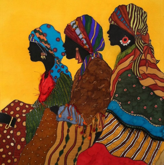 Three Ladies in Wait-original Silk Painting