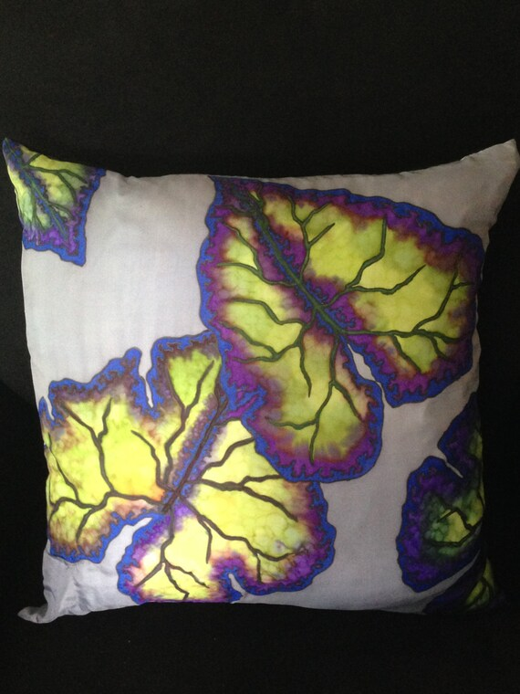 FEELING BLUE -Hand Painted Silk Decorative Pillow