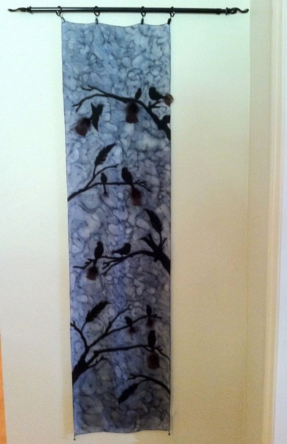 BIRDS MEETING Silk Wall Hanging