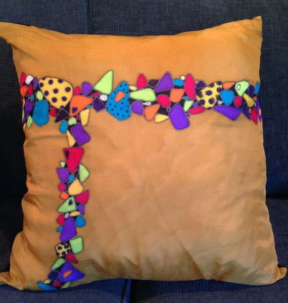 PATH OF STONES - Decorative Hand Painted Silk Pillow