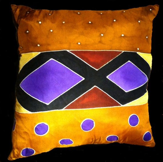 Diamonds and Circles -Decorative Hand Painted Silk Pillow -  MADE-TO-ORDER