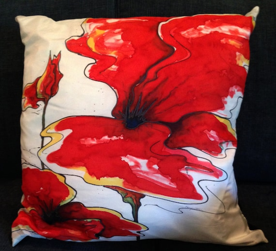 RAGING RED -Decorative Hand Painted Silk Pillow -   - Made to Order