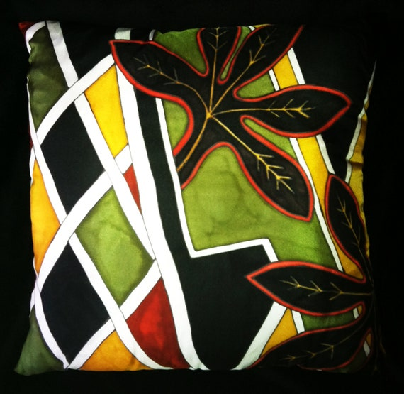 IN THE BRUSH -Hand Painted  Silk  Decorative Pillow