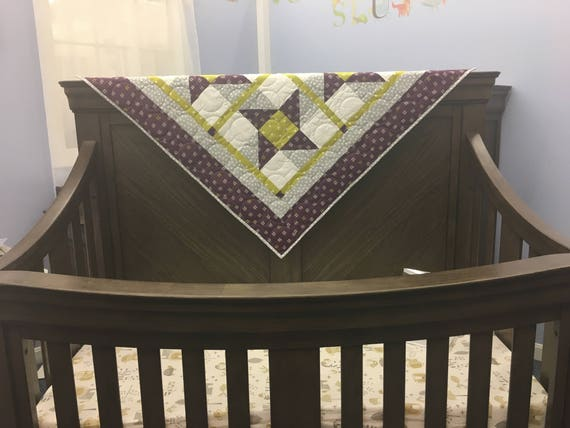 Handmade Baby Quilt - Gender Neutral - Purple Stars - Made to Order