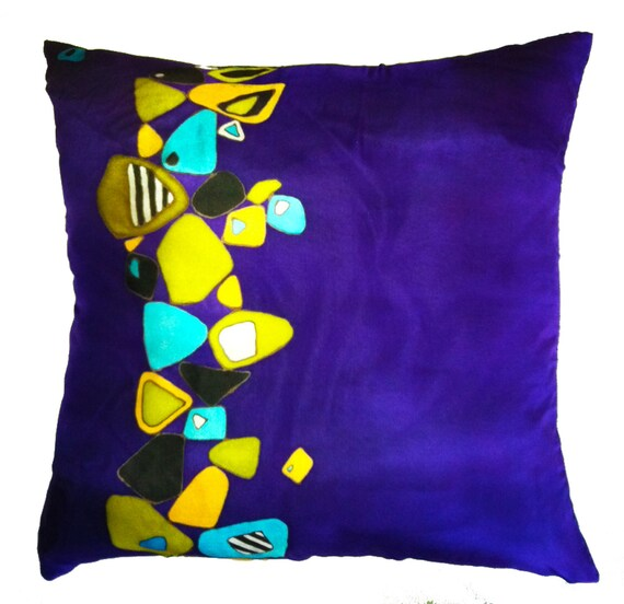 FALLEN ROCKS - Hand Painted Silk Decorative Pillow - made-to-order