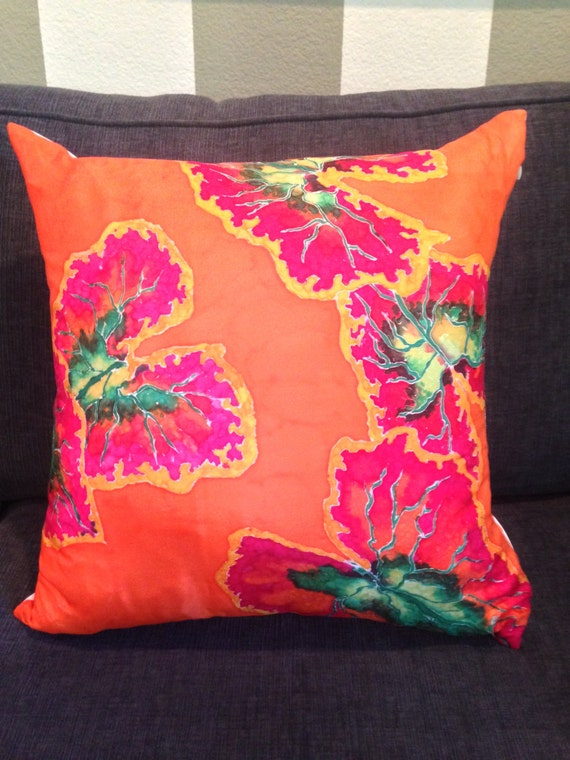 PASSIONATE ABOUT PHILODENDRONS - Hand Painted Silk Decorative Pillow