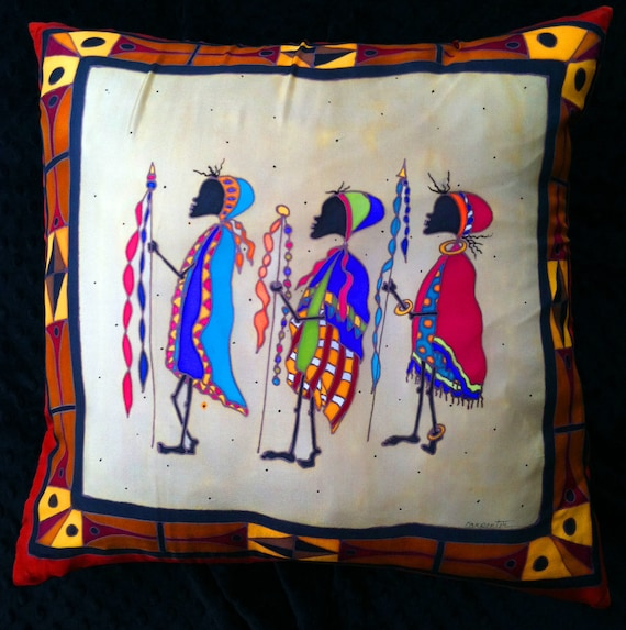 WARRIOR CELEBRATION - Decorative Hand Painted Silk Pillow