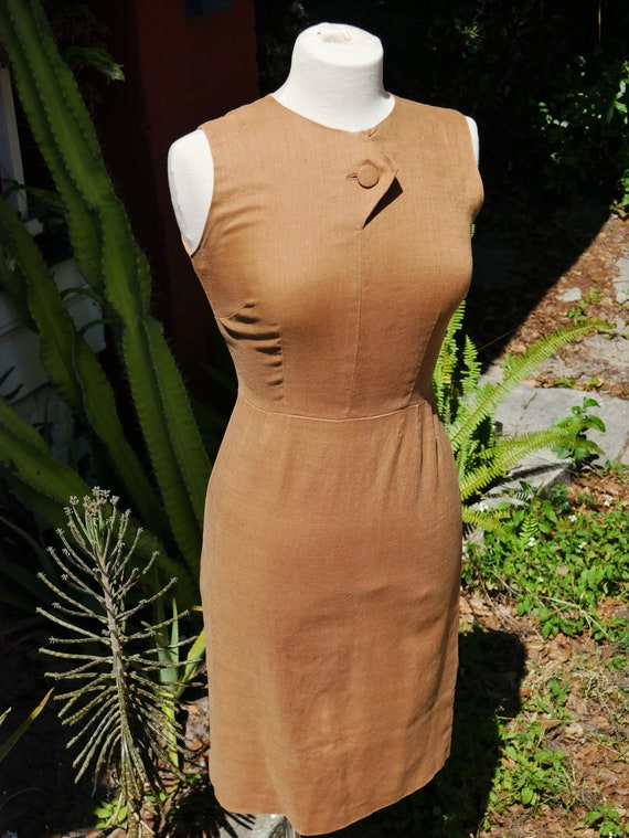 1960's Brown Linen Pencil Dress with Front Button