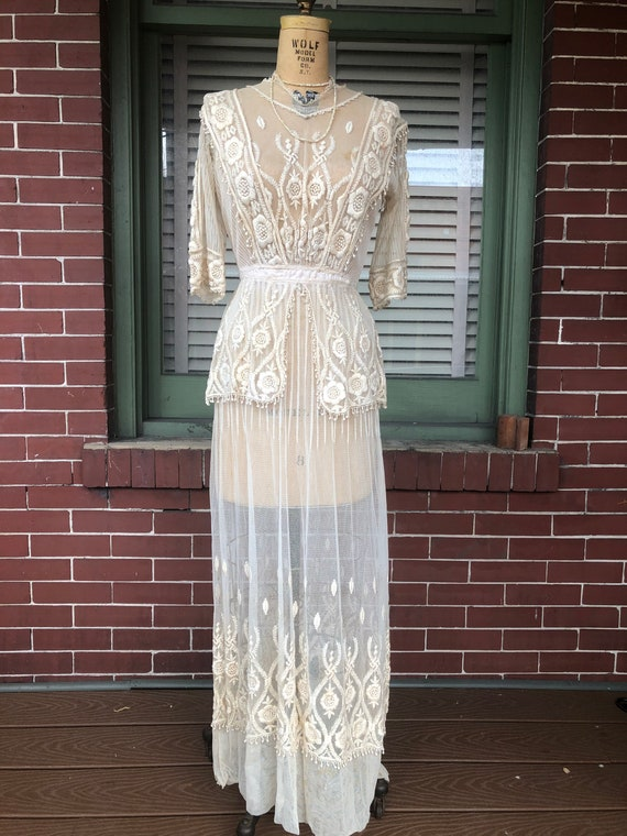 Victorian Edwardian cotton Embroidered Bridal gown