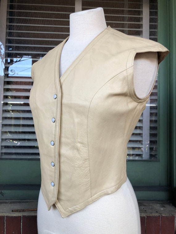 Vintage Fitted Leather Vest with Metal Snaps