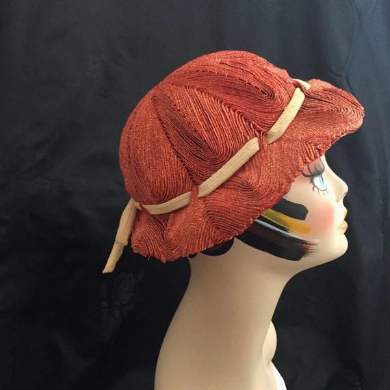1930s Orange Straw Cloche Sara Sue hat