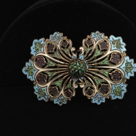 Art Nouveau French Enamel Sash Buckle -Belt Buckle