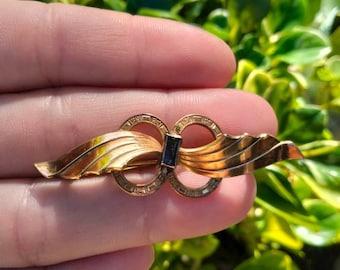 Vintage Art Deco Gold Fill & Sapphire Brooch