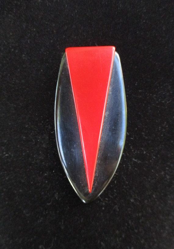 Vintage Red and Black Bakelite Dress Clip