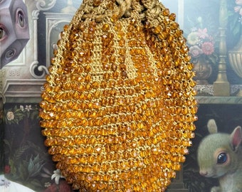 Vintage 1920s Gold Glass Beaded Evening Bag Purse with Tassels