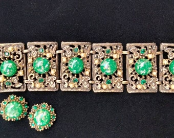Vintage 1960s Brass and Green Lucite Bracelet and Earrings Set