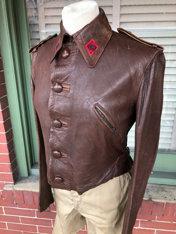 Vintage high waisted 1930s leather motorcycle jack