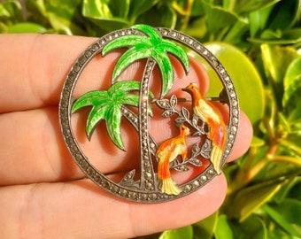 Vintage 1930s Sterling Silver, Marcasite & Enamel Brooch Birds in Palm Tree Pin