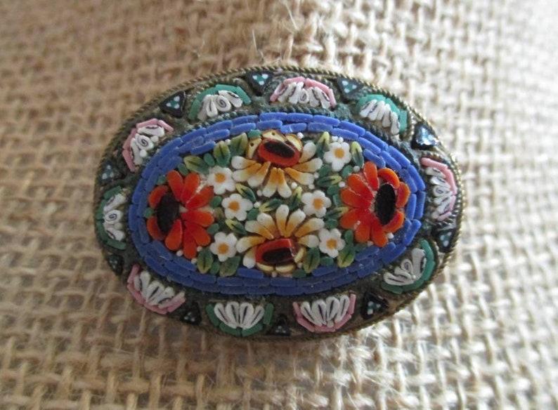 Vintage Italian Colorful Floral Mosaic Brooch