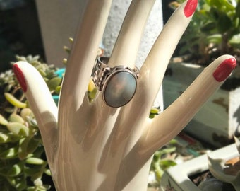 Vintage Mother of Pearl and Sterling Silver Statement Ring