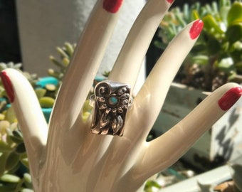 Vintage Sterling and Opal Floral Ring